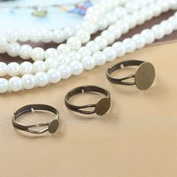 Wholesale Antique Ring Base - (40 pcs lot) 6mm  8mm  12mm antique bronze pad ring base anillo adjustable ring blank glue on cabochon rings findings cy531