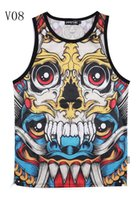 Wholesale Magic Vest - w1209 [Magic] Hot design new made for men tank tops both side good print big Skull 3d vest Grid Active tanks V08 free shipping
