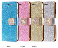 Wholesale Leather Crystal Pouch - Wallet Pouch Fashion Luxury PU Leather Phone Case For Apple iPhone 5 5S SE 6 6S Plus i7 Plus Crystal Diamond Flip Back Cover Bag