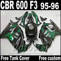 Wholesale 1996 Cbr F3 Green Fairing - 7Gifts+ Free Tank for HONDA CBR600 F3 95 96 black green fairing kit CBR 600 1995 1996 bodywork kits ZB28