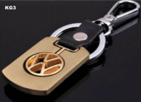 Wholesale Volkswagen For Sale - Hot sale gold alloy with really leather Keychains car logo key chain key ring for Volkswagen XG3