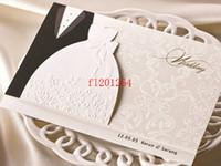 ingrosso vestiti fedex liberi-100pcs / lot Fedex DHL liberano il trasporto nuovi vestiti della sposa dello sposo di arrivo degli abiti stampabili personalizzabili degli inviti di nozze