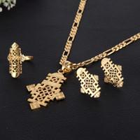 Wholesale Earrings Gold 24k Wholesale - Wholesale-Ethiopian 5.6cm*3.1cm Pendants & Earrings&Ring Set 24k African Gold Corss Symbol Jewelry Set