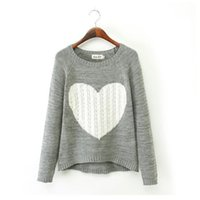 Wholesale Hearts Blouses - Hot Sale Ladies Warm Winter Pullovers Knitted Sweaters Jumper Heart Shape Tops Round Neck Long Sleeve Blouses bz657655
