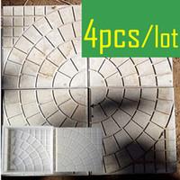 Wholesale concrete bricks - 4 Pieces  Lot Walk Path Brick Cement Maker Concrete Plastic Mold Diy Garden Walking Road Bricks Decoration Round Pattern