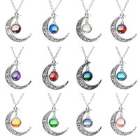12mm Mermaid Fish Scale Colgante Druzy Drusy Collar Crescent Moon Sol Forma Acero inoxidable Cadenas Joyas