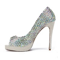 AB Color Crystal Wedding Shoes New Handmade White Pearl Heels Peep Toe Platform sapatos de noiva Gorgeous Graduation Party Prom Pump