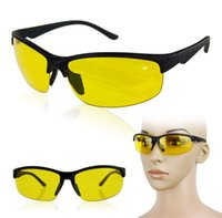 Wholesale Vision Safety Glasses - New Arrival Plastic + Resin HD High Definition Classic Night Vision Driving Glasses Yellow Lens Driver Safety Sunglasses UV 400 10 Pcs Lot