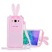 Wholesale grand big - For GALAXY Grand Prime A8 A7 A5 Case 3D Kawaii Rabbit Big Ears Cases for G530 E5 E7 J5 J7 Cover with Lanyard