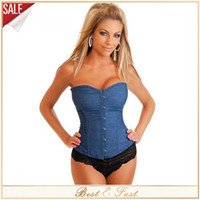 Wholesale Bone Jeans - HOT SALE ! dongguan_wholesale New Jeans Blue Corselet Sexy Denim Corset Women's Corselet Strapless Boned Corset And Bustiers With Thong Fast