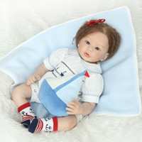 Wholesale Half Inflatable Doll - Wholesale- Reborn Baby Doll Half Silicone Body Newborn Girl Realistic Looking Curly Hair, 22inch 55cm