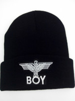 "Wholesale 3d Embroidery Hats - 2017 100% Acrylic Beanie Hat Hip Hop wool winter Cotton knitted New boys men's HOT ""boy"" styles Boy London Beanie 3D embroidery plain beanie"