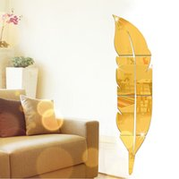 Creative Medium Feathers Home Fashion 3D Wall Sticker Mirror senza inquinamento Living Room Divano TV Sfondo Decorazione - oro