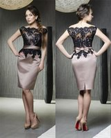 Discount sheath dresses - 2016 New Sexy Satin Mother Of The Bride Dresses Lace Appliques with Bow Sash Knee Length Mother Dresses Formal Evening Cocktail Wear BA1756