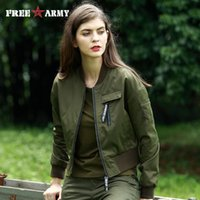 Wholesale Womens Green Military Coat - FREE ARMY Autumn Fashion Personality Bomber Jacket Women Military Army Green Short Coat Print Female Pilot Jacket Casual Womens Outerwear
