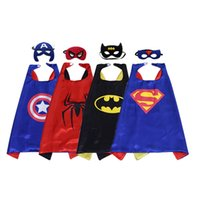 Wholesale Animal Masks Children - 70*70cm Double side kids Superhero Cartoon Cute Capes and masks Children Kids Capes Cosplay Party Costumes Halloween70*70cm