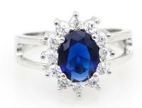 mavi düğün taşı toptan satış-İNGILTERE Kraliçe Mavi Safir Takı Anillos Joyas de Plata Gümüş Düğün Zirkon CZ Pırlanta Yüzük Renkli Taşlar ile Kadınlar için Y050