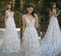 Wholesale Plunge V Neck - 2016 New Gorgeous 3D-Floral Appliques Berta Wedding Dresses Plunging V-neck Spaghetti Straps Backless Lace Wedding Dresses with Court Train