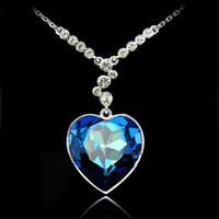 Wholesale Swarovski Blue Pendant - The heart of the Titanic Pendant Necklace Blue Gemstone swarovski elements Necklace Fashion Crystal Jewelry K147