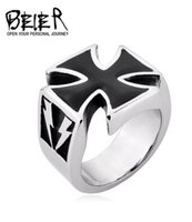 Wholesale War Fan - Fashion Fan of military equipment Titanium steel ring male The second world war the iron cross ring The German blitzkrieg memorial ring