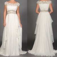 Wholesale Shirred Dress Straps - beach wedding dresses 2015 new Shirred silk chiffon with cascading on bridal gowns,Beaded floral cummerband and bateau neckline
