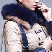 Wholesale Down Coat Racoon Fur Collar - Wholesale-Snowka Fashion 2015 Winter Jacket Women Luxurious Natural Racoon Fur Collar Hood Long Outwear Warm 90% Down Parka Ladies Coats