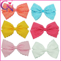 """Wholesale White Lace Hair Bows - 5.5"""" Satin Ribbon Hair Bows For Girls Handmade Lace Bow With Mental Clips High Quality Baby Girl Hair Accessories 20Pcs lot CNHB-130615"""
