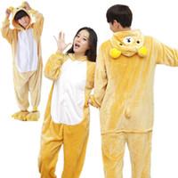 Wholesale Kids Bear Costumes - Easy Bear Kigurumi Pajamas Animal Suits Cosplay Halloween Costume Adult and children Garment Cartoon Jumpsuits Unisex Animal Sleepwear