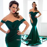 Wholesale Emerald Wedding Dresses - Emerald Wedding Formal Evening Dresses Off Shoulder Chapel Train Satin Plus Size 2016 Arabic Long Dresses Bridesmaid Prom Gowns Custom Made