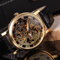 Wholesale Skeleton Watch Boxes - Luxury Brand WINNER Automatic Mechanical Watches Men's Stainless Steel Skeleton Watch Gold Dial aaa Top Quality Watches Gift Box 565