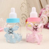 Wholesale Wholesale Christening - 50pcs lot Pink Blue Plastic Bottle Candy Box Baby Shower Baptism Christening Birthday Gift Wedding Party Sweets Favors
