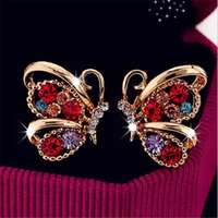 Moda coreana Crystal Colorful Butterfly Stud Earrings Cute Party Jewelry