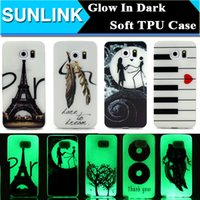 Wholesale Iphone Glow Cover - Glow In Dark Luminous TPU Soft Case Eiffel Tower Piano Flowers Lovers Painted Cover for Samsung Galaxy S7 Edge S6 Edge Plus iPhone 6 6s Plus