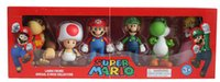 Wholesale Mario Action - Super Mario Bros Peach Toad Mario Luigi Yoshi Donkey Kong PVC Action Figure Toys Dolls 6pcs set New in Box