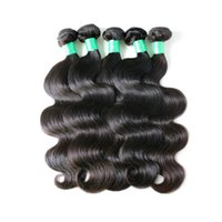 Wholesale 6a peruvian hair - Unprocessed 6A Virgin Hair Brazilian Body Wave Weft Hair Weave Extensions Full Head Natural Color Dyeable Bleachable Unprocessed 4pcs Lot