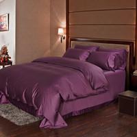 edredones de lino de algodón de lujo al por mayor-Dark purple 100% sábanas de algodón egipcio sábanas de lujo Queen funda nórdica doona edredón cama en una bolsa de colcha de lino occidental