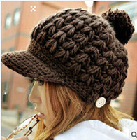Wholesale Knitted Hat Buckle - Wholesale-Korean winter duck tongue and hand woven ball cap wooden buckle knitted hat