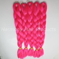 Wholesale Neon Woven - Kanekalon jumbo braid hair Folded 24inch 80G NEON FUCHSIA Solid Color ombre Xpression Synthetic hair extensions TF2315