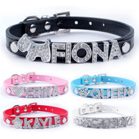 Wholesale Cheap Collars For Dogs - 5 Colors Customized Leather Dog Collars Cheap Personalized DIY Name Dog Collar for 10mm Letters and Charm