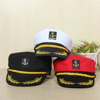 Wholesale navy sailor cap - Romania Style Unisex Peaked Skipper Sailors Navy Seafarers Captain Boating Cotton Hat Cap Adult Fancy Dress Free Shipping