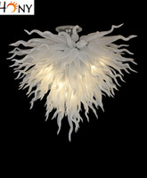Wholesale Chihuly Lighting - Free Shipping New Art Lighting Murano Glass Chandelier Hot sale White Blown Glass Chihuly Chandelier led Ceiling Decor Chandeliers