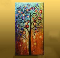 Wholesale Cheap Large Canvas Oil Painting - Free shipping Hand painted Abstract oil painting large canvas art cheap modern abstract tree paintings living room wall pictures home decor