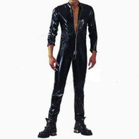 Wholesale Open Crotch Male - Wholesale-Plus S-XXL Strong Men Black PVC Leather Latex Bodysuit Top PU Sexy Zentai Catsuit Gay Male Leotard Open Crotch Zippre Jumpsuit