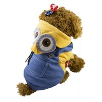 Wholesale Wholesale Minion T Shirts - New Style Spring And Autumn Four Feet Dog Clothes Pure Cotton Small Dogs Minions Cross Dressing Overalls Yellow and Blue Lovely