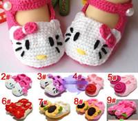 bebés sandalias hechas a mano al por mayor-Zapatos de bebé niña hechos a mano Zapatos de ganchillo bebé Sandalias de flores de punto Infantil Hello Kitty zapatos de dibujos animados 5 pares ShippV120 gratis