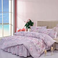 Wholesale Quilt Lined - Wholesale-2015 new home textile quilt set bed sheet line bedclothes Aloe cotton bedskirt 4pcs bedding set comforter bedding sets