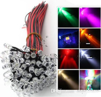 Wholesale 5mm Led Mix - Mixed 3MM 5MM Pre Wired leds water clear purple orange red green blue yellow white fast flash led beads