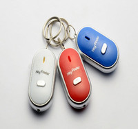 Cell Phone,key   LED Whistle Key Finder With Key Chain Lost Keys Mobile Wallet Chain Finder Keychain Whistle Sound Control Anti-lost Device Alarm