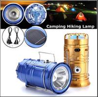 Wholesale Solar Powered Light Ip68 - New Fan Rechargeable Solar Powered Camping Light DC charge Flashlight Fan Lantern Outdoor Hanging Hiking Lamp 3 in 1 Function