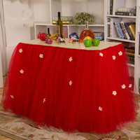 Wholesale Table Covers Skirts - 2015 Romantic Wedding Tulle Table Sashes 80*92 cm Custom Made Colorful Wedding Party Table Skirt Birthday Party Table Covers Accessories